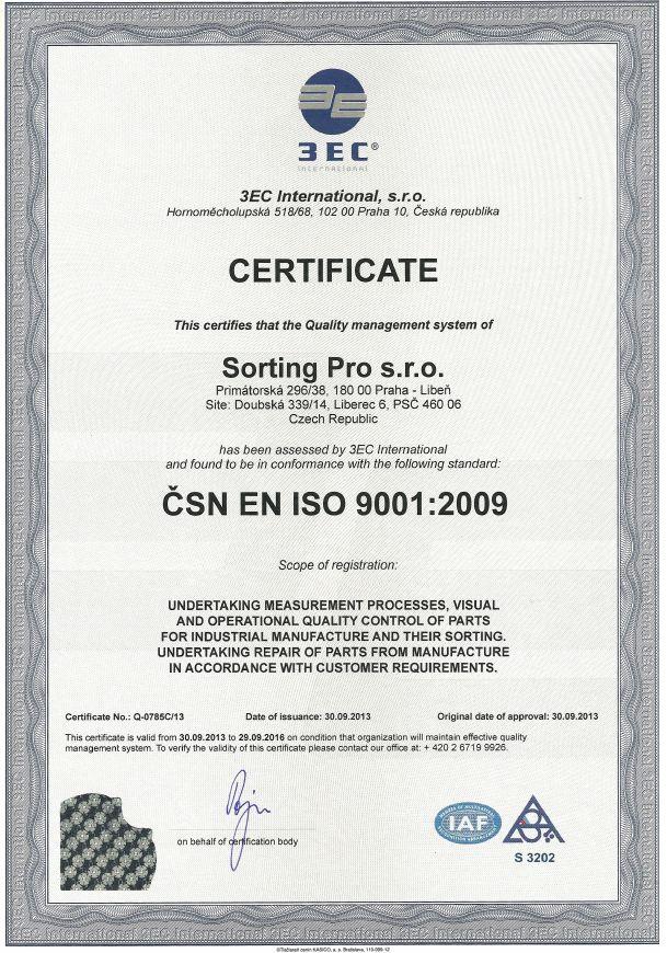 Sorting Pro certifik8t